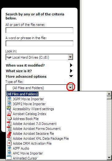 select type of file