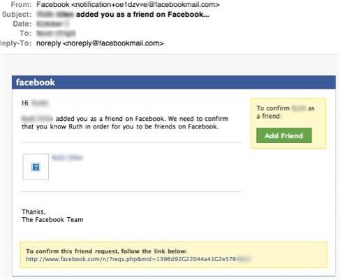 Figure 1 fake facebook friend request email