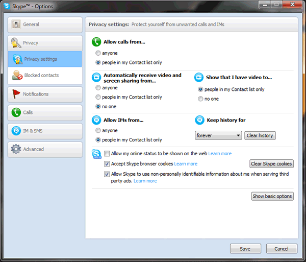 skype privacy options settings